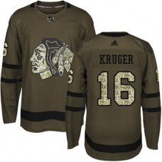 Kid's Chicago Blackhawks #16 Marcus Kruger Authentic Green Salute to Service Adidas Jersey