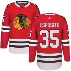 Kid's Chicago Blackhawks #35 Tony Esposito Authentic Red Home Adidas Jersey