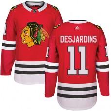 Kid's Chicago Blackhawks #11 Andrew Desjardins Authentic Red Home Adidas Jersey