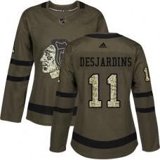 Women's Chicago Blackhawks #11 Andrew Desjardins Authentic Green Salute to Service Adidas Jersey