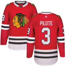Kid's Chicago Blackhawks #3 Pierre Pilote Authentic Red Home Adidas Jersey
