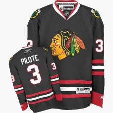 Kid's Chicago Blackhawks #3 Pierre Pilote Authentic Black Third Reebok Jersey
