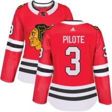 Women's Chicago Blackhawks #3 Pierre Pilote Premier Red Home Adidas Jersey