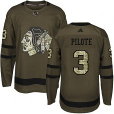 Kid's Chicago Blackhawks #3 Pierre Pilote Authentic Green Salute to Service Adidas Jersey