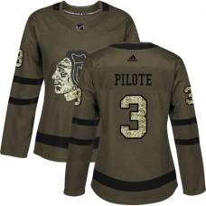 Women's Chicago Blackhawks #3 Pierre Pilote Premier Green Salute to Service Adidas Jersey