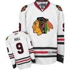 Kid's Chicago Blackhawks #9 Bobby Hull Authentic White Away Reebok Jersey