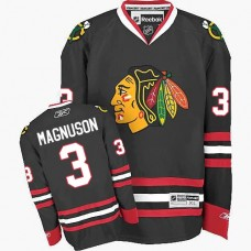 Chicago Blackhawks #3 Keith Magnuson Authentic Black Third Reebok Jersey