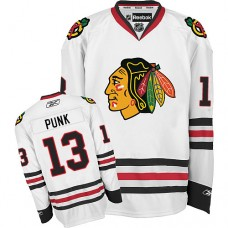 Chicago Blackhawks #13 CM Punk Authentic White Away Reebok Jersey