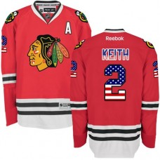 Chicago Blackhawks #2 Duncan Keith Premier Red USA Flag Fashion Reebok Jersey