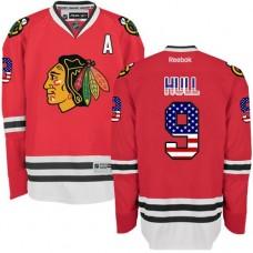 Chicago Blackhawks #9 Bobby Hull Authentic Red USA Flag Fashion Reebok Jersey