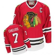 Chicago Blackhawks #7 Chris Chelios Authentic Red CCM Throwback Jersey