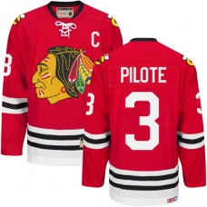 Chicago Blackhawks #3 Pierre Pilote Authentic Red CCM Throwback Jersey