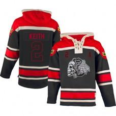 Old Time Hockey Chicago Blackhawks #2 Duncan Keith Authentic Black Sawyer Hooded Sweatshirt