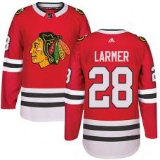 Chicago Blackhawks #28 Steve Larmer Authentic Red Home Adidas Jersey