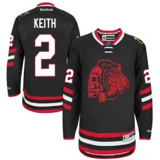 Kid's Chicago Blackhawks #2 Duncan Keith Authentic Black Red Skull 2014 Stadium Series Reebok Jersey