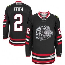 Kid's Chicago Blackhawks #2 Duncan Keith Premier Black White Skull 2014 Stadium Series Reebok Jersey