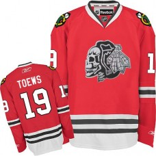 Kid's Chicago Blackhawks #19 Jonathan Toews Authentic Red White Skull Reebok Jersey