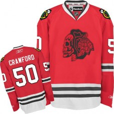 Kid's Chicago Blackhawks #50 Corey Crawford Authentic Red Red Skull Reebok Jersey