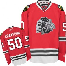 Kid's Chicago Blackhawks #50 Corey Crawford Authentic Red White Skull Reebok Jersey