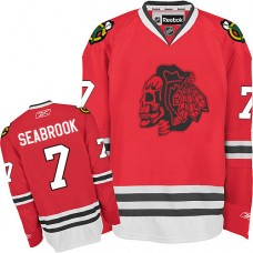 Kid's Chicago Blackhawks #7 Brent Seabrook Authentic Red Red Skull Reebok Jersey