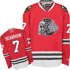 Kid's Chicago Blackhawks #7 Brent Seabrook Authentic Red White Skull Reebok Jersey