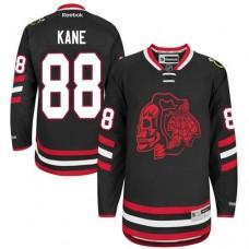 Kid's Chicago Blackhawks #88 Patrick Kane Authentic Black Red Skull 2014  Stadium Series Reebok Jersey