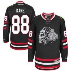 Kid's Chicago Blackhawks #88 Patrick Kane Authentic Black White Skull 2014 Stadium Series Reebok Jersey