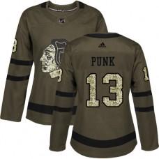 Women's Chicago Blackhawks #13 CM Punk Authentic Green Salute to Service Adidas Jersey