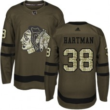 Kid's Chicago Blackhawks #38 Ryan Hartman Authentic Green Salute to Service Adidas Jersey