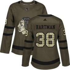 Women's Chicago Blackhawks #38 Ryan Hartman Authentic Green Salute to Service Adidas Jersey