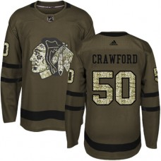 Kid's Chicago Blackhawks #50 Corey Crawford Authentic Green Salute to Service Adidas Jersey