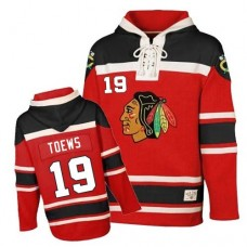 Old Time Hockey Chicago Blackhawks #19 Jonathan Toews Authentic Red Sawyer Hooded Sweatshirt