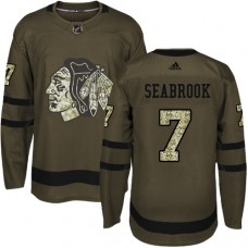 Kid's Chicago Blackhawks #7 Brent Seabrook Authentic Green Salute to Service Adidas Jersey
