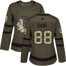 Women's Chicago Blackhawks #88 Patrick Kane Authentic Green Salute to Service Adidas Jersey