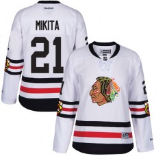 Women's Chicago Blackhawks #21 Stan Mikita Premier White 2017 Winter Classic Reebok Jersey