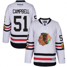 Kid's Chicago Blackhawks #51 Brian Campbell Authentic White 2017 Winter Classic Reebok Jersey