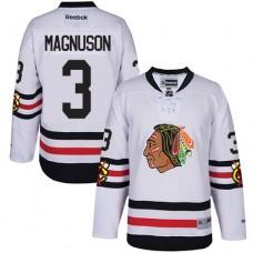 Kid's Chicago Blackhawks #3 Keith Magnuson Authentic White 2017 Winter Classic Reebok Jersey