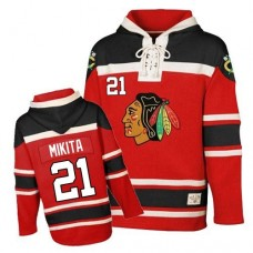 Old Time Hockey Chicago Blackhawks #21 Stan Mikita Authentic Red Sawyer Hooded Sweatshirt