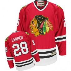 Chicago Blackhawks #28 Steve Larmer Authentic Red CCM Throwback Jersey