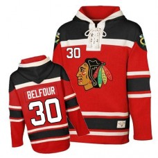 Old Time Hockey Chicago Blackhawks #30 ED Belfour Premier Red Sawyer Hooded Sweatshirt