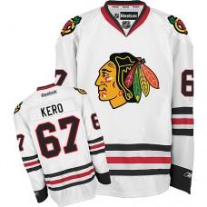Kid's Chicago Blackhawks #67 Tanner Kero Authentic White Away Reebok Jersey