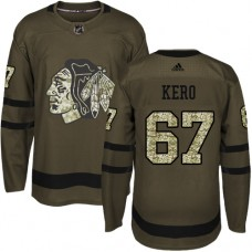Kid's Chicago Blackhawks #67 Tanner Kero Authentic Green Salute to Service Adidas Jersey