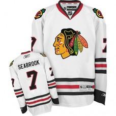 Kid's Chicago Blackhawks #7 Brent Seabrook Authentic White Away Reebok Jersey