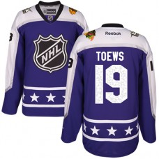 Women's Chicago Blackhawks #19 Jonathan Toews Authentic Purple Central Division 2017 All-Star Reebok Jersey