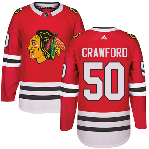 Kid's Chicago Blackhawks #50 Corey Crawford Authentic Red Home Adidas Jersey