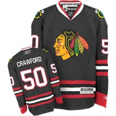 Kid's Chicago Blackhawks #50 Corey Crawford Authentic Black Third Reebok Jersey