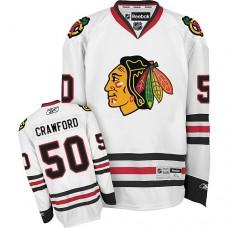 Women's Chicago Blackhawks #50 Corey Crawford Authentic White Away Reebok Jersey