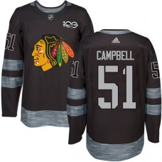 Chicago Blackhawks #51 Brian Campbell Authentic Black 1917-2017 100th Anniversary Adidas Jersey