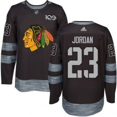 Chicago Blackhawks #23 Michael Jordan Premier Black 1917-2017 100th Anniversary Adidas Jersey