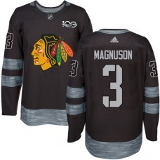 Chicago Blackhawks #3 Keith Magnuson Authentic Black 1917-2017 100th Anniversary Adidas Jersey
